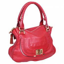 Chloe Red Leather Marcie Shoulder Bag 81699