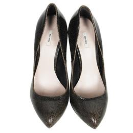 Miu Miu Brown Crackled Leather Pumps Size 38.5 78320