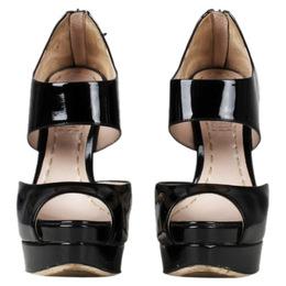 Miu Miu Black Patent Peep Toe Back Zip Platform Pumps Size 36 78198