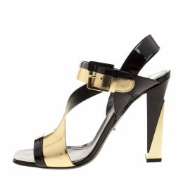 Sergio Rossi Black Patent And Metallic Gold Leather Zed Peep Toe Sandals Size 40 130904