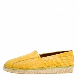 Salvatore Ferragamo Yellow Crocodile Leather Lampedusa Espadrilles Size 42