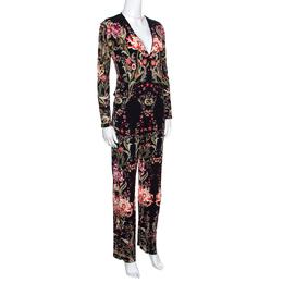 Roberto Cavalli Black Galaxy Garden Printed Long Sleeve Jumpsuit S 158704
