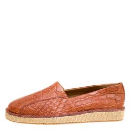 Salvatore Ferragamo Cognac Crocodile Leather Lampedusa Espadrilles Size 44.5