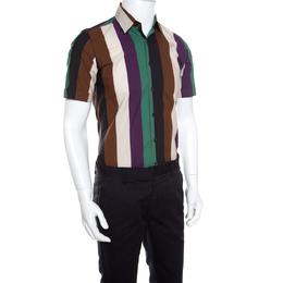 Salvatore Ferragamo Multicolor Wide Striped Cotton Short Sleeve Shirt S 160269