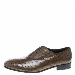 Salvatore Ferragamo Light Brown Ostrich Leather Gris Oxfords Size 41 170132
