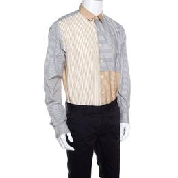 Salvatore Ferragamo Grey and Mustard Multi Stripe Paneled Cotton Shirt XL 160288