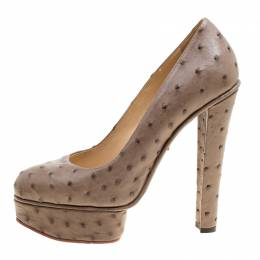 Charlotte Olympia Taupe Ostrich Leather Greta Platform Pumps Size 39 160851