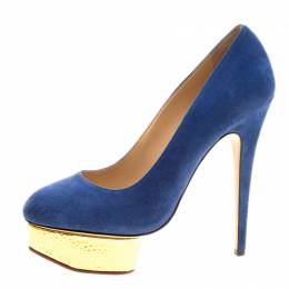 Charlotte Olympia Blue Suede Dolly Platform Pumps Size 39.5 229208