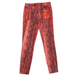 Just Cavalli Red Python Printed Denim Skinny Jeans S 161488