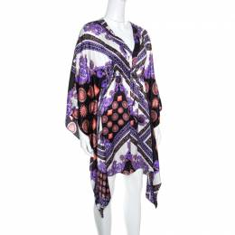 Versace Collection Multicolor Sun and Crystals Motif Printed Silk Kaftan Tunic M 161224