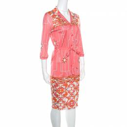 Emilio Pucci Pink Printed Silk Belted Shirt Dress S 161507