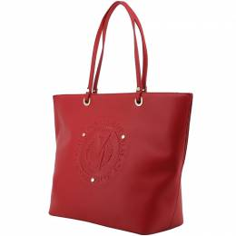 Versace Jeans Red Faux Leather Logo Shopping Tote 161827