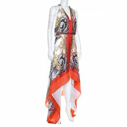 Versace Collection Multicolor Printed Plunge Neck Handkerchief Hem Detail Dress S 162329