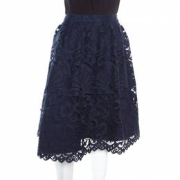 Alice + Olivia Sapphire Blue Floral Guipure Lace Gathered Joyce Skirt L