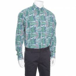Salvatore Ferragamo Blue and Green Sailboat Printed Cotton Long Sleeve Shirt XL 163777