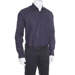 Salvatore Ferragamo Navy Blue Cotton Jacquard Long Sleeve Shirt L 163790