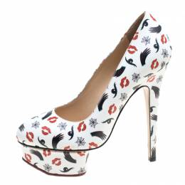 Charlotte Olympia M.A.C Collection White Printed Leather Dolly Pumps Size 40 165098