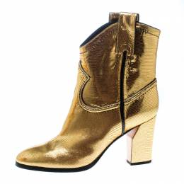 Casadei Metallic Gold Embossed Lizard Leather Cowboy Boots Size 38.5 165609