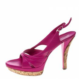 Casadei Pink Leather Slingback Platform Sandals Size 39 166388