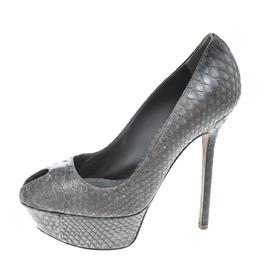 Sergio Rossi Grey Python Peep Toe Platform Pumps Size 36.5 166463