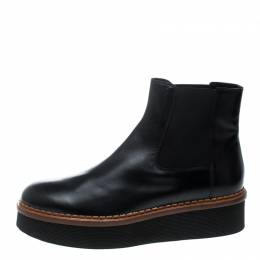 Tod's Black Leather Platform Ankle Boots Size 41 Tod's