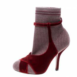 Fendi Red/Purple Velvet and Knitted Fabric Socks Ankle Booties Size 39 168953