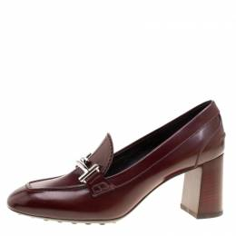 Tod's Burgundy Leather Gomma Maxi Double T Court Loafer Pumps Size 39.5 Tod's