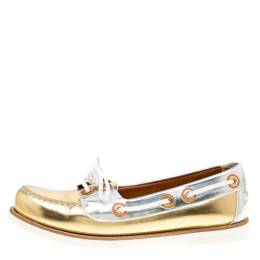 Louis Vuitton Metallic Gold And Silver Leather Marina Boat Loafers Size 39