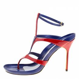Manolo Blahnik Red/Blue Leather T Strap Thong Sandals Size 40.5