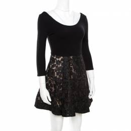 Alice + Olivia Black Embroidered Lace Skirt Detail Scoop Neck Amie Dress S 174411