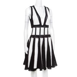 Givenchy Monochrome Open Knit Studded Plunge Neck Detail Paneled Dress S 174938