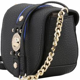 Versace Jeans Black Pebbled Faux Leather Chain Crossbody Bag 169502