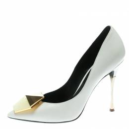 Nicholas Kirkwood White Leather Hexagon Pointed Toe Pumps Size 37 174985
