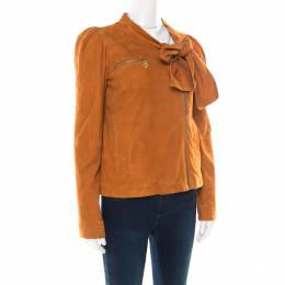 Mulberry Tan Brown Suede Floppy Bow Detail Biker Jacket S 174997