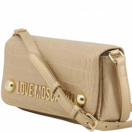 Love Moschino Yellow Croc Embossed Faux Leather Crossbody Bag 169626