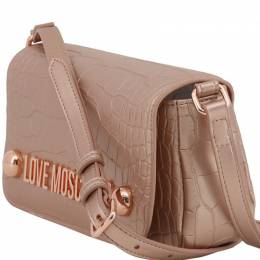 Love Moschino Pink Croc Embossed Faux Leather Crossbody Bag 169622
