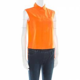 Diane Von Furstenberg Orange Silk Sleeveless High Low Lensley Shirt XS 176695