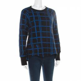 Kenzo Black and Blue Checkered Flared Hem Sweatshirt L 176738