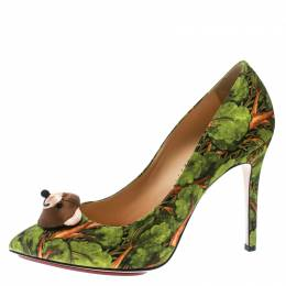Charlotte Olympia Green Printed Satin Bear Necessities Pointed Toe Pumps Size 38 176963