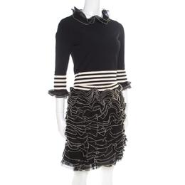 Alexander McQueen Monochrome Knit Ruffle Detail Top and Mini Skirt Set S/M 176812