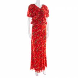 Dior Red Printed Gathered Ruffle Detail Maxi Dress S 177287