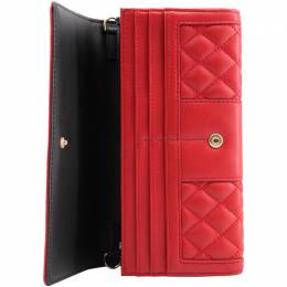 Love Moschino Red Quilted Leather WOC Clutch Bag