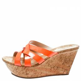 Casadei Orange Patent Leather Cross Strap Cork Wedge Platform Sandals Size 41