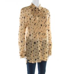 Dries Van Noten Beige Star Printed Pintuck Detail Shirt M