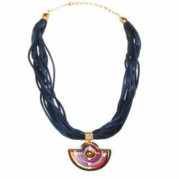 Frey Wille Hommage à Hundertwasser Spiral of Life Blue Fire Enamel Half Moon Pendant Necklace 177897