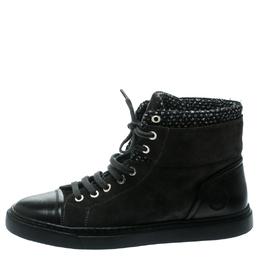 Chanel Grey Suede/Tweed High Top Sneakers Size 39.5 178004