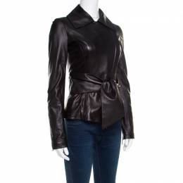 Elie Saab Black Lamb Leather Waist Tie Detail Biker Jacket S 179533