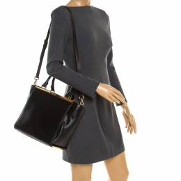 MICHAEL Michael Kors Black Leather Top Handle Bag