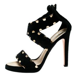 Giuseppe Zanotti Design Black Suede Cross Ankle Strap Sandals Size 38.5 181819
