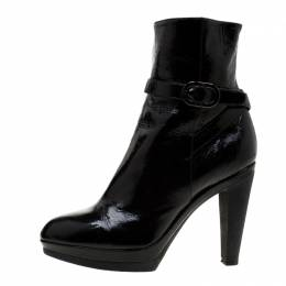 Sergio Rossi Black Patent Leather Ankle Boots Size 37.5 229845